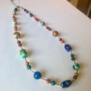 Boho hand painted glass and wood beaded necklace